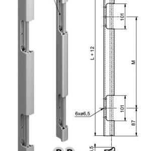 Zawias tylnych drzwiczek 800mm P anod. zdjęcie numer 1